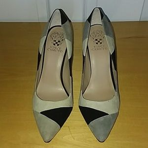 NEW Black and Grey Vince Camuto Caprice Heels 8